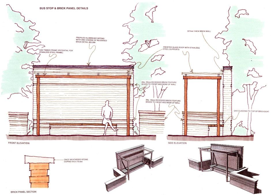 Plan Elevation Section Of Bus Stop : Bus stop design sketch pixshark images